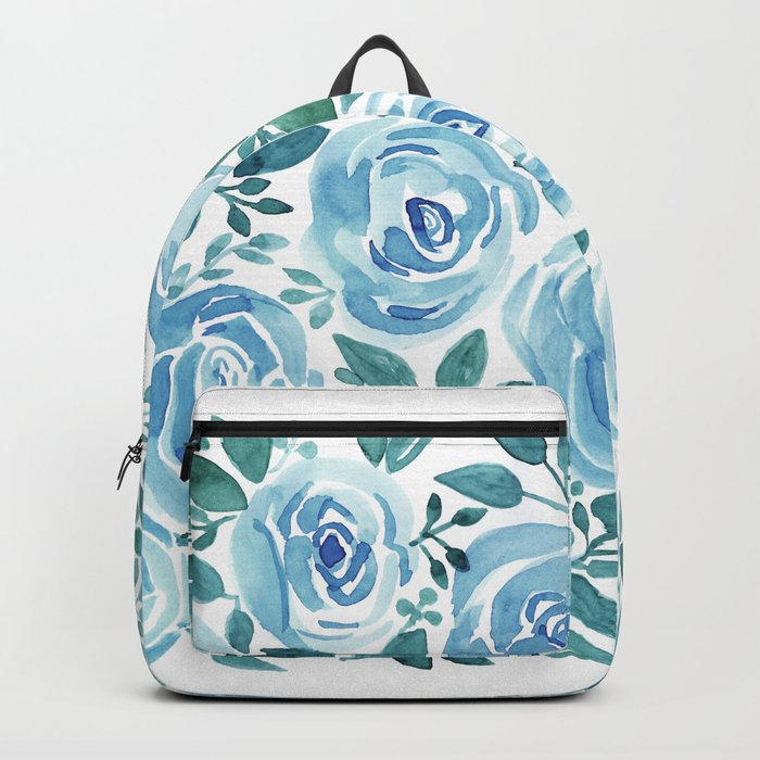 Pale blue roses . Watercolor . Backpack