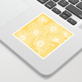 Sunshine Yellow Poppies Sticker