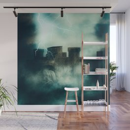 Medieval fortress in the heavy fog at night Wall Mural