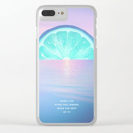When life gives you lemons - Surreal Lemon Collage Sunset Clear iPhone Case