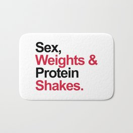 Protein Shakes Gym Quote Bath Mat