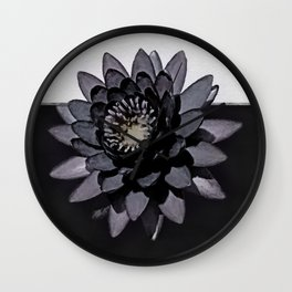 Black Lotus Watercolor Digital Art 3 Wall Clock