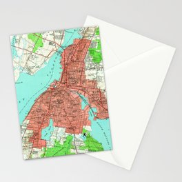 Vintage Map of Fall River Massachusetts (1949) Stationery Cards