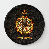 shiva Wall Clocks featuring Shiva  by Khana's Web