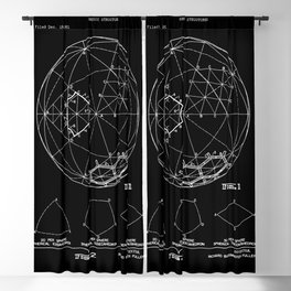 Buckminster Fuller 1961 Geodesic Structures Patent - White on Black Blackout Curtain