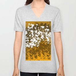 Orange and brown abstract paint patches Unisex V-Neck