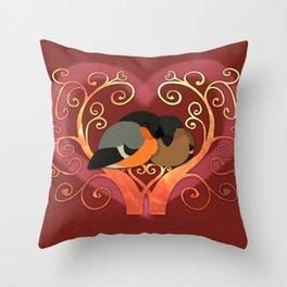Valentine Bullfinches Throw Pillow