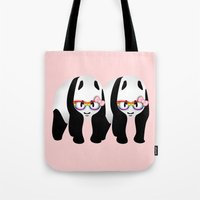 lesbian Tote Bags featuring Lesbian  Gay Pride Pandas by mailboxdisco
