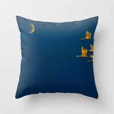 Moon-lit Flight (landscape) Throw Pillow