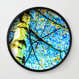 Autumn leaves sky background Wall Clock