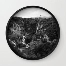 veliki slap waterfall 1 plitvice lakes national park croatia bw lowfi Wall Clock