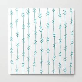 Blue, Teal: Arrows Pattern Metal Print