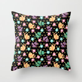 Freely Birds Flying - Fly Away Version 3 - Obsidian Black Color Throw Pillow