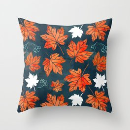 Autumn leaves against dark blue Throw Pillow