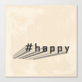 #happy - vintage style -  Past and present mixture - Brown & Beige Canvas Print
