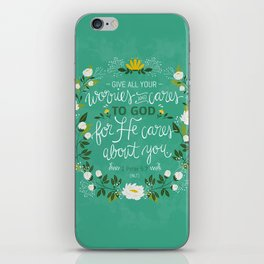 1 Peter 5:7 - Give All Your Worries And Cares To Him iPhone Skin