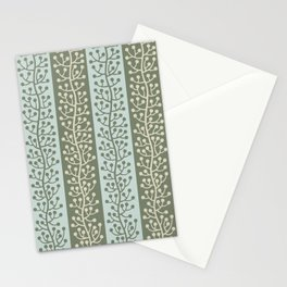 Mid Century Modern Berry Vine Sage and Mint Green Stationery Cards