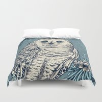 hedwig Duvet Covers featuring Winter Snowy Owl by Angela Rizza