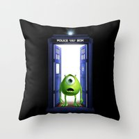 monster inc Throw Pillows featuring Tardis Monster inc by DavinciArt