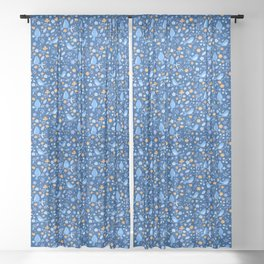 Beautiful Blue Floral Birds Sheer Curtain
