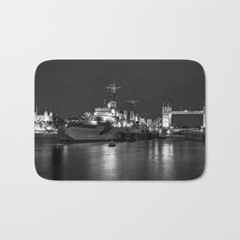 HMS Belfast in Black and White Bath Mat