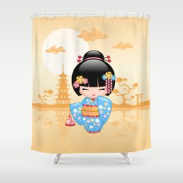 Japanese Maiko Kokeshi Doll Shower Curtain