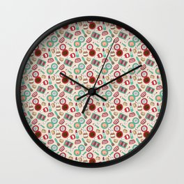 Doodle Makeup Pattern Wall Clock