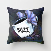 buzz lightyear Throw Pillows featuring BUZZ by 2headedsnake