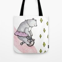 cycling Tote Bags featuring Cycling Bear by Brooke Weeber