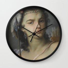 Bust length portrait of a woman, fine antique art Wall Clock
