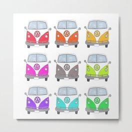 Rainbow Camper Vans Metal Print