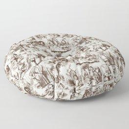 Alice in Wonderland | Toile de Jouy | Brown and Beige Floor Pillow