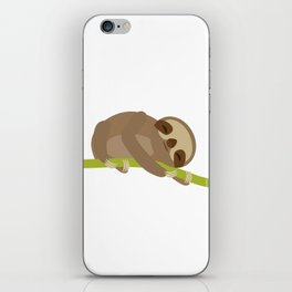 funny and cute Three-toed sloth on green branch iPhone Skin