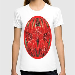 Velvety Red Abstracted Christmas  Florals T-shirt