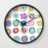 karen hallion Wall Clocks featuring Bohemian Flower Shower Curtain by Karen Fields by Karen Fields Design