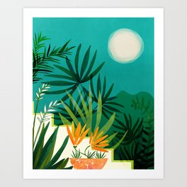 Tropical Moonlight / Night Scene Illustration Art Print