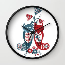 Two Foxes Wall Clock