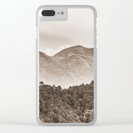 The mountain beyond the forest Clear iPhone Case