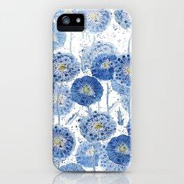 blue indigo dandelion pattern watercolor iPhone Case