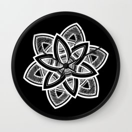 Authentic white mandala on black Wall Clock