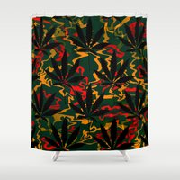 rasta Shower Curtains featuring Rasta Leaves... by Cherie DeBevoise