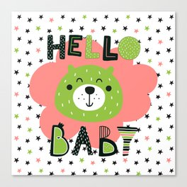 Hello Baby nursery boy and girl Canvas Print