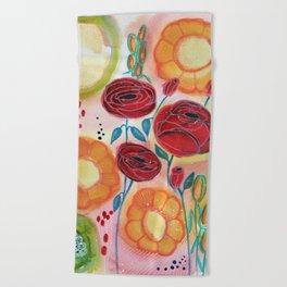 Roses and Daisies Beach Towel