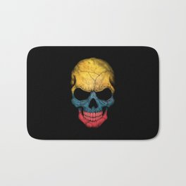 Dark Skull with Flag of Colombia Bath Mat