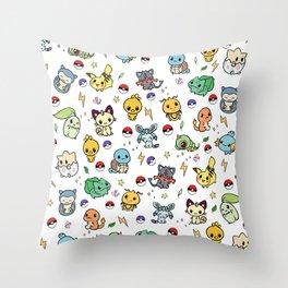 Chibi Kawaii poke characters Throw Pillow