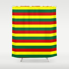 red green yellow stripes Shower Curtain