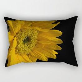 Yellow Sunflower from Left on Black Nature / Botanical / Floral Photograph Rectangular Pillow