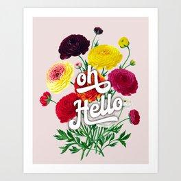 oh Hello vintage spring flowers Art Print
