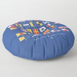 Maritime Nautical Signal Flags Chart - Navy Floor Pillow