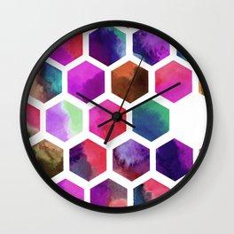 Pink Hexagons Wall Clock